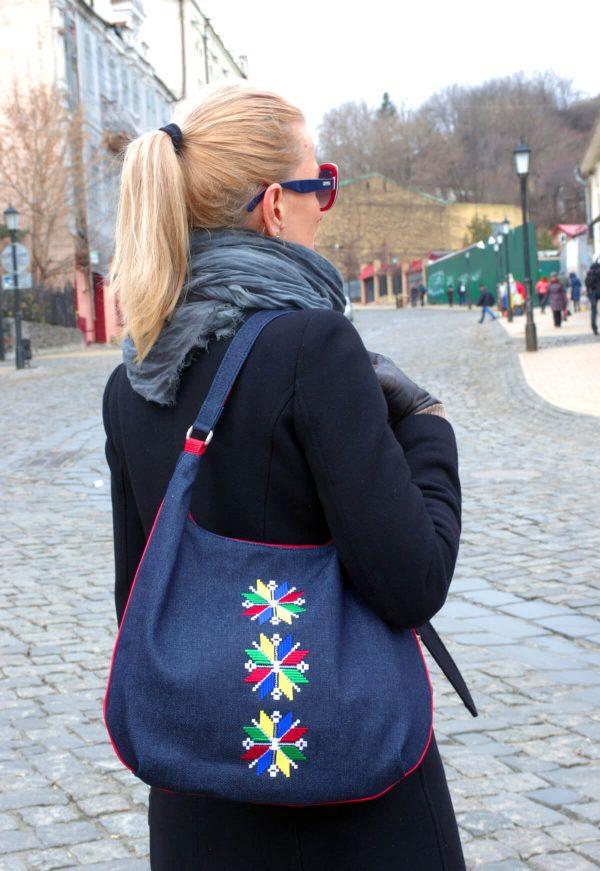 Джинсова сумка з вишивкою вісьмикутна зірочка