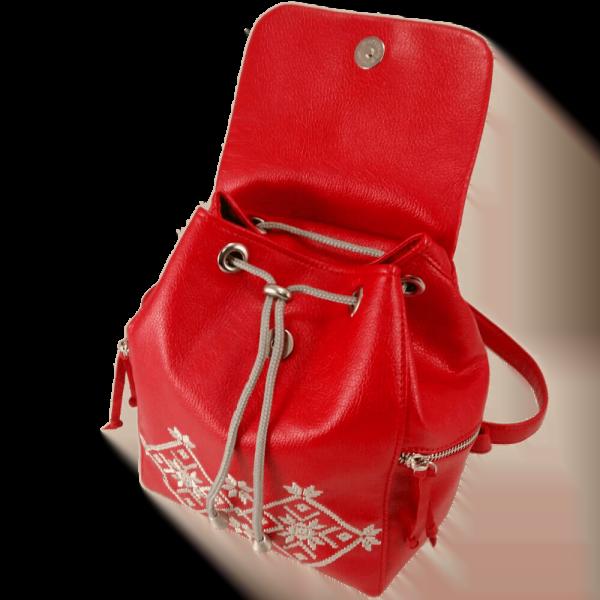 Великий червоний рюкзак з еко шкіри