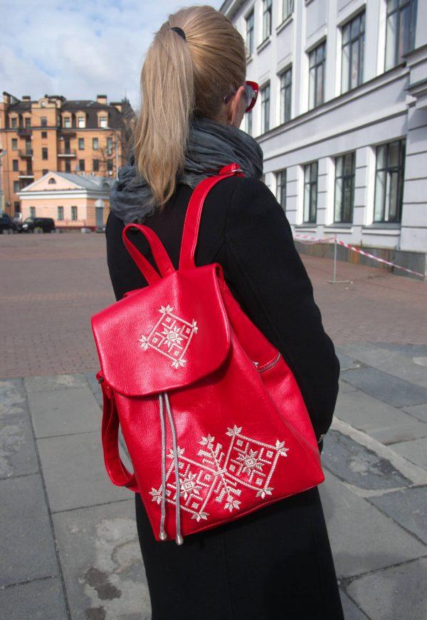 Рюкзак з еко шкіри з житомирською вишивкою 18000