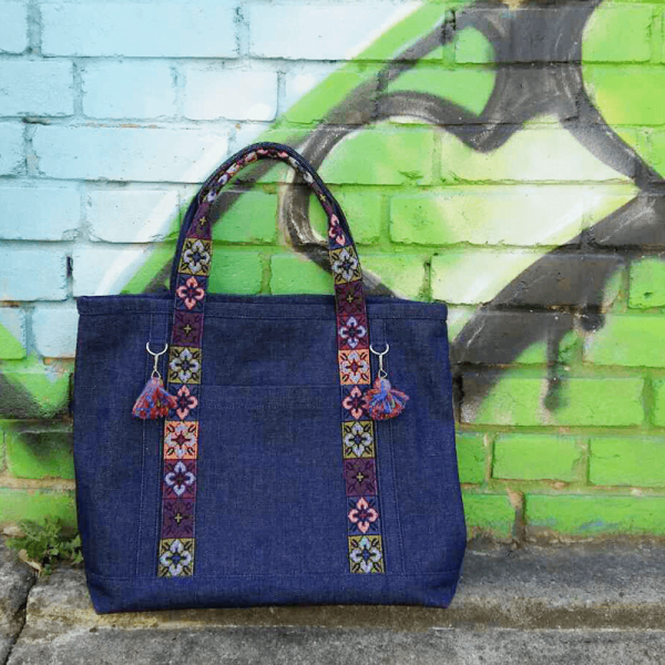 Denim Handbag with & Tapestry Details