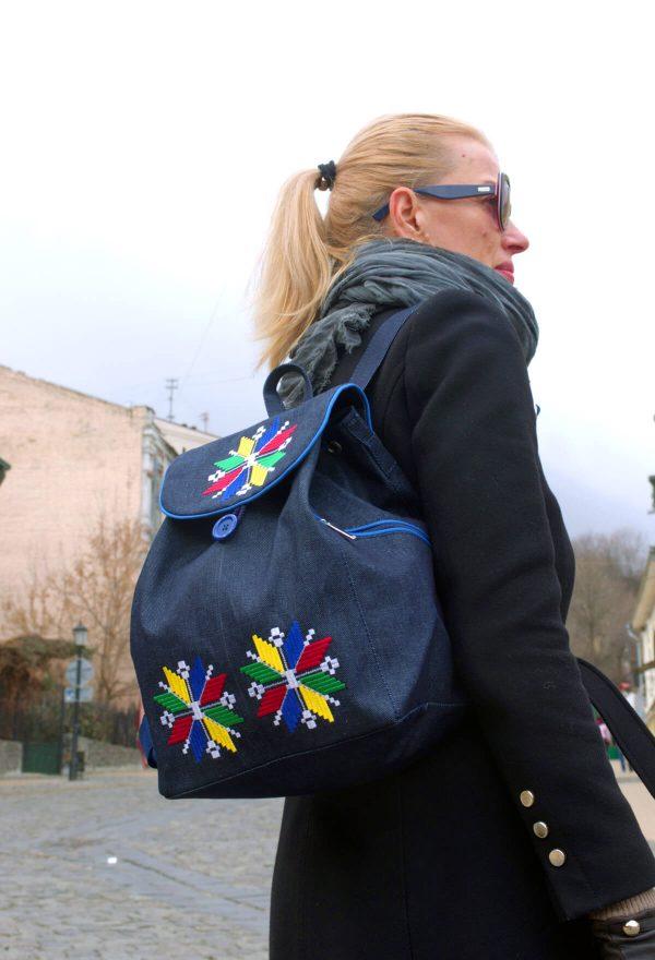 embroidered denim back