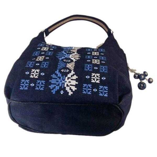 фото 1 Джинсова сумка з двокольоровою вишивкою