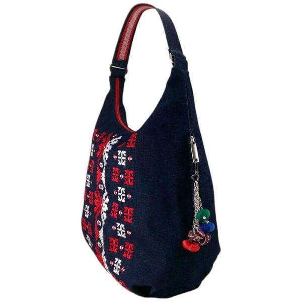 фото 3 Джинсова сумка з двокольоровою вишивкою