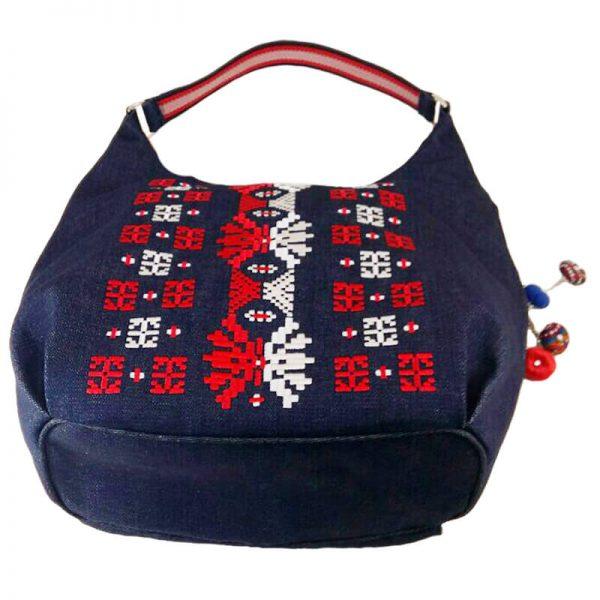 фото 2 Джинсова сумка з двокольоровою вишивкою