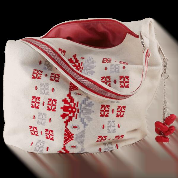 фото 3 Біла сумка з двокольоровою вишивкою