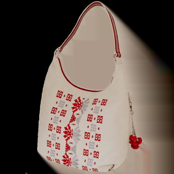 фото 2 Біла сумка з двокольоровою вишивкою