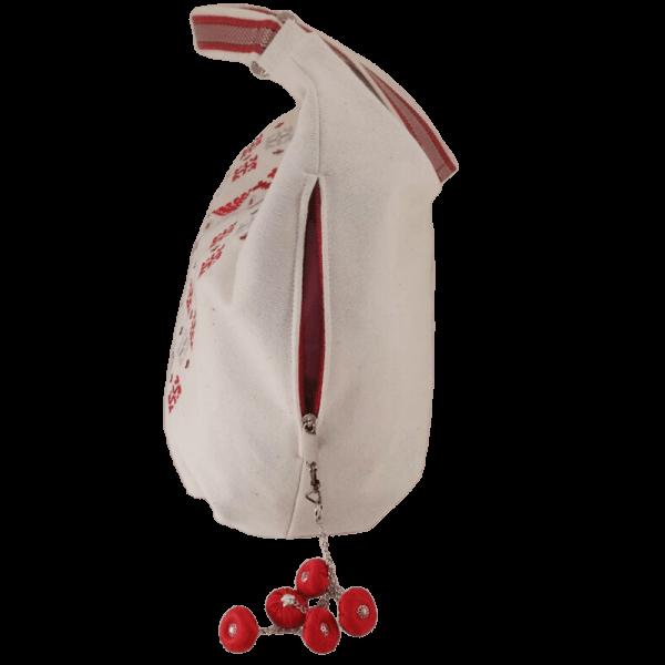 фото 1 Біла сумка з двокольоровою вишивкою