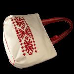 White Canvas Handbag with Horizontal Velvet Print (oval bottom)