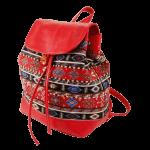 Червоний рюкзак з гобелену та екошкіри фото 4