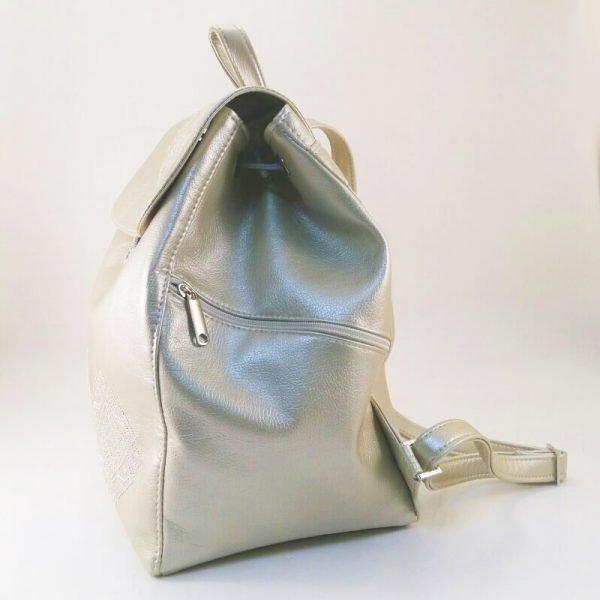 Рюкзак з еко шкіри з вишивкою СИГМА