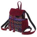 Маленький рюкзак із замші та гобелену фіолет + бургунді