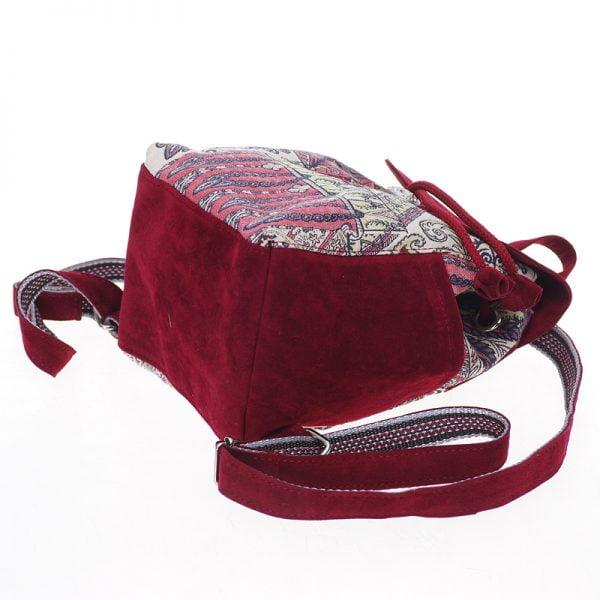 Маленький рюкзак із замші та гобелену бордо