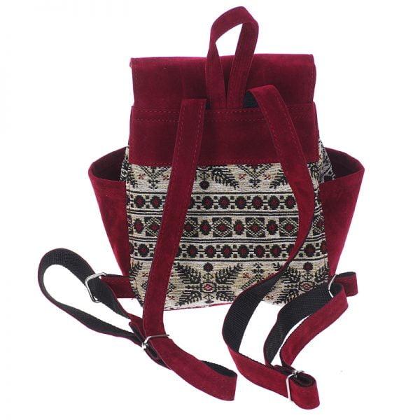 Маленький рюкзак із замші та гобелену БУРГУНДІ