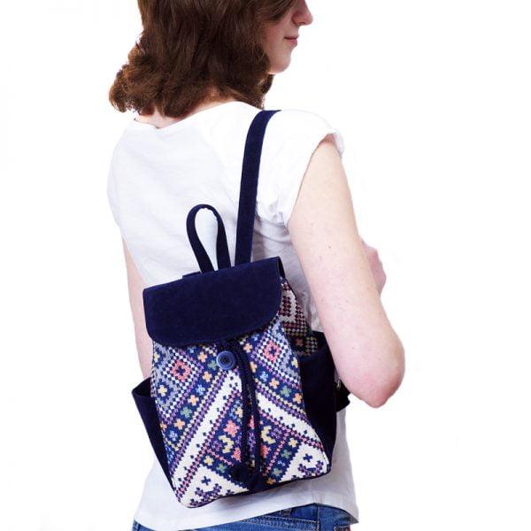 Маленький рюкзак із замші та гобелену