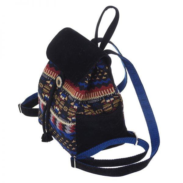 Маленький рюкзак із замші та гобелену ЧОРНИЙ