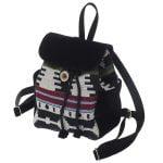 Маленький рюкзак із замші та гобелену ЧОРНИЙ 2