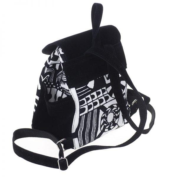 Маленький рюкзак із замші та гобелену ЧОРНИЙ  3