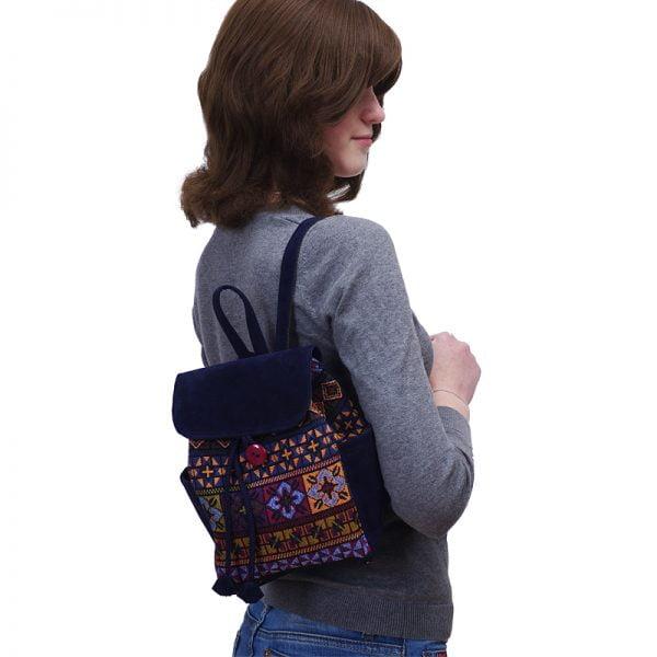 Маленький рюкзак із замші та гобелену синій