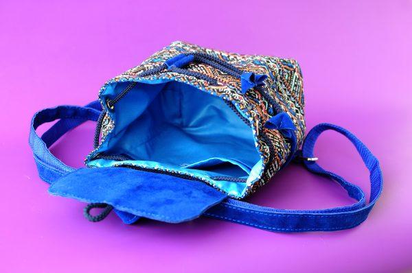 Маленький рюкзак із замші та гобелену СИНІЙ 2