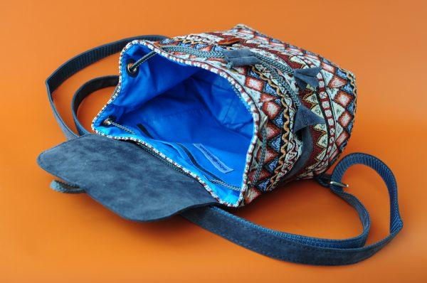 Маленький рюкзак із замші та гобелену СІРИЙ