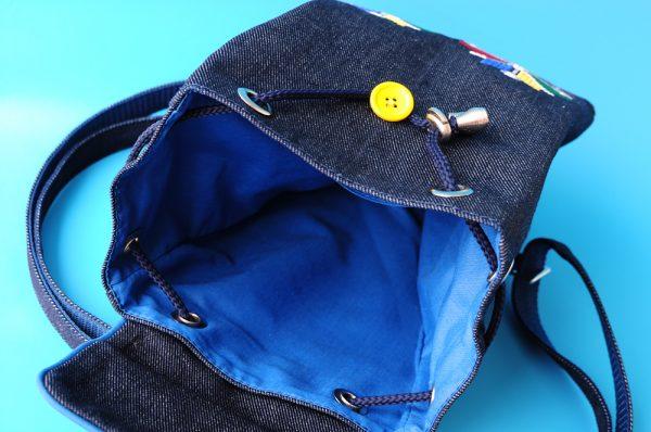 Наплічник джинсовий маленький з вишивкою
