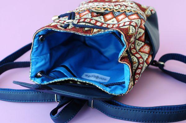 Маленький рюкзак із гобелену та екошкіри СИНІЙ