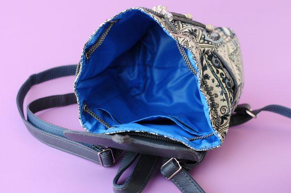 Маленький рюкзак із гобелену та екошкіри СІРИЙ