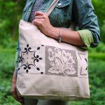 Еко-сумка (шоппер) біло-сіра