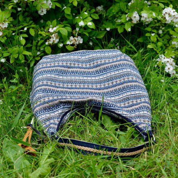 Блакитна сумка з гобелену та джинсу (з овальним дном)