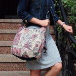 Рожева сумка з гобелену та джинсу (з овальним дном)