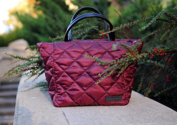 Середня стьобана сумка бордо 12402