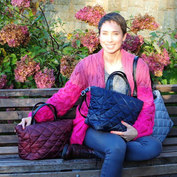 Середня стьобана сумка синя 12404