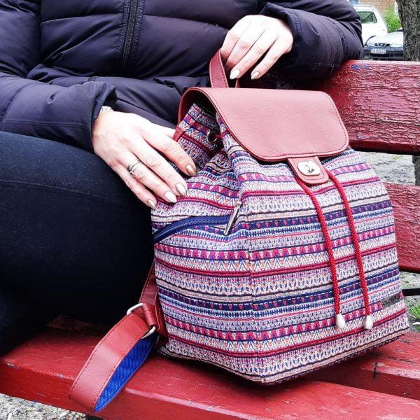 Великий рюкзак з гобелену та екошкіри