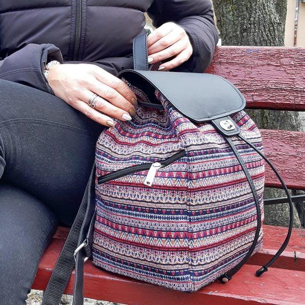 Рюкзак великий з гобелену та екошкіри чорного кольору