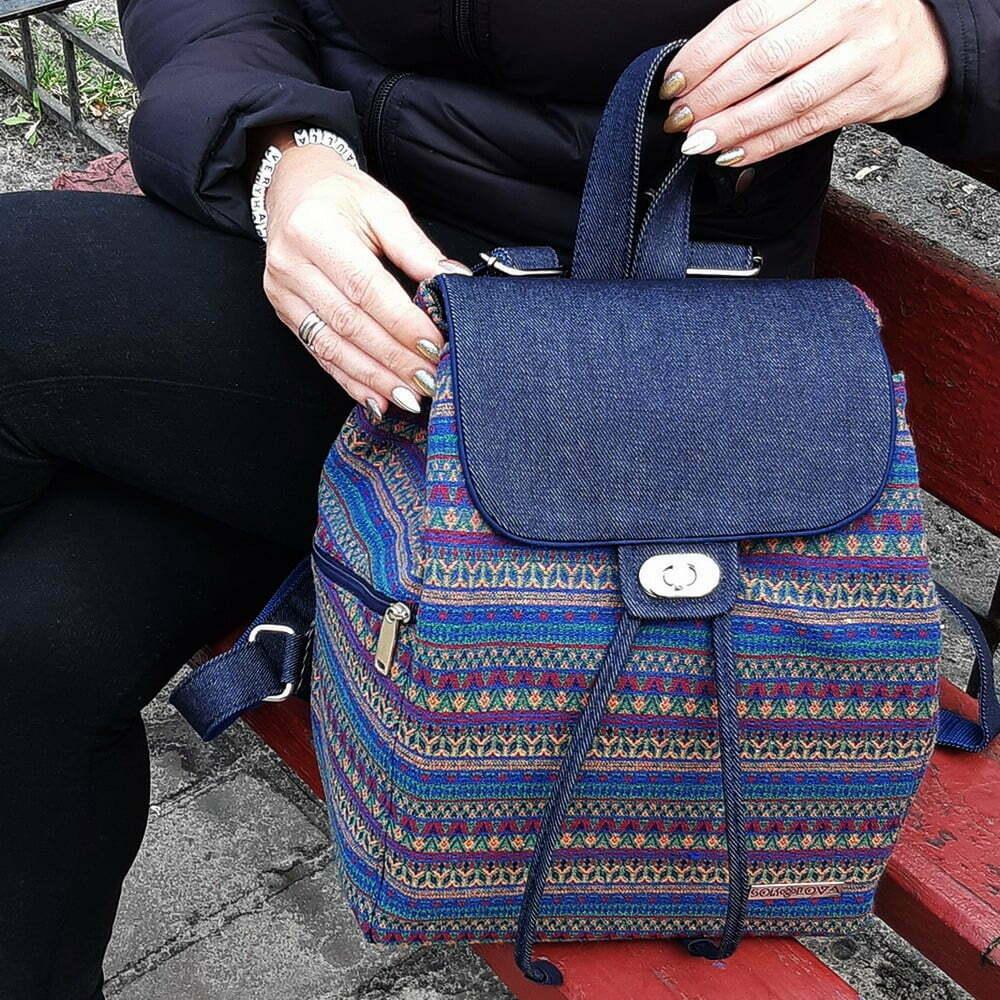 Великий рюкзак з гобелену та джинсу