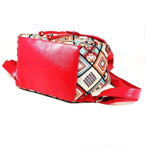 Рюкзак з гобелену та екошкіри червоний