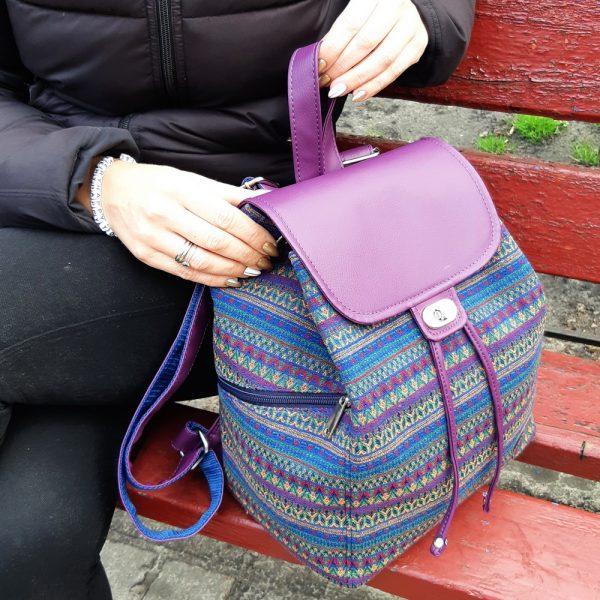 Рюкзак з гобелену та екошкіри (фуксія)
