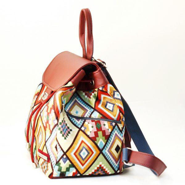 Рюкзак з гобелену та екошкіри