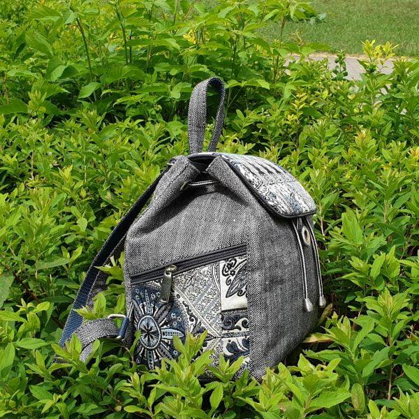 """Рюкзак маленький сірий з гобеленовим декором """"Туніс"""""""