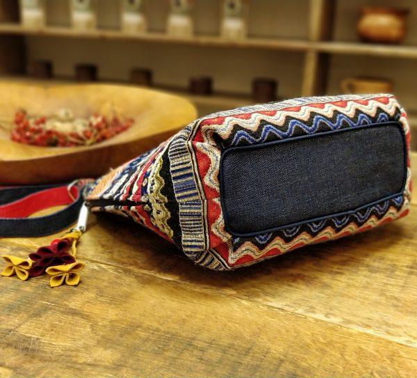 """19001-4 Велика сумка з гобелену та джинсу """"Візерунки"""" (з овальним дном)"""