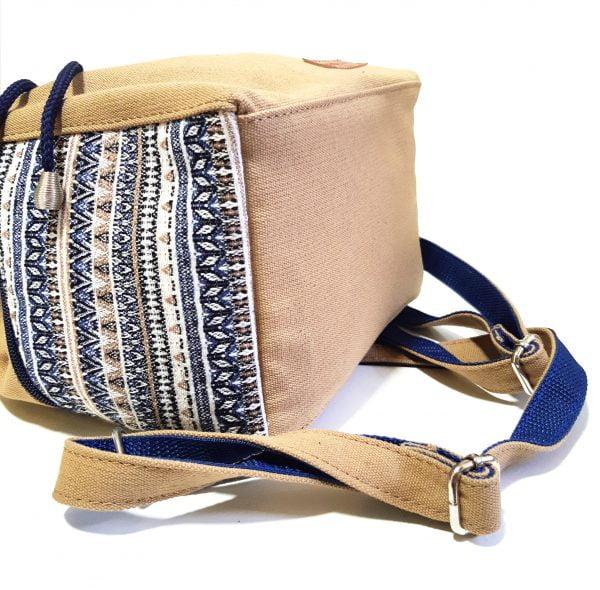 15017-1 Рюкзак середній: беж канвас та гобелен смужка середній
