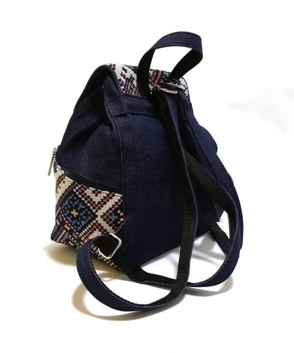 15007-4 Рюкзак джинсовий середній з гобеленовим декором