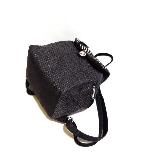 15018 Рюкзак середній сірий з геометричним візерунком