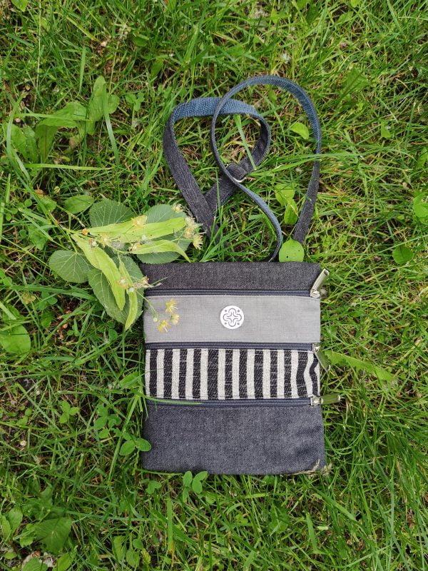 Міні сумка 4 кишені (сірі смужки) (23002)