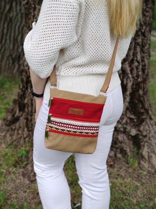 Міні сумка 4 кишені (пісочний та червоний) (23006)
