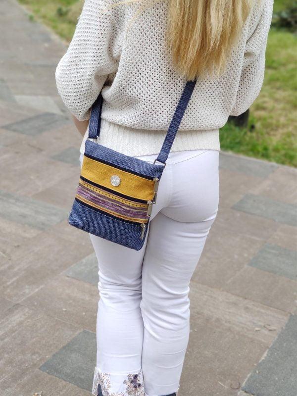 Міні сумка 4 кишені (голубий та жовтий) (23007)