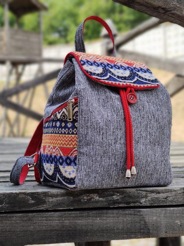 Рюкзак середній сірий з червоними хвилями (15020)