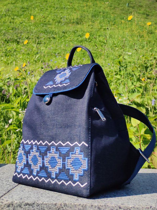 Джинсовий рюкзак з вишивкою Синя доріжка (18008)