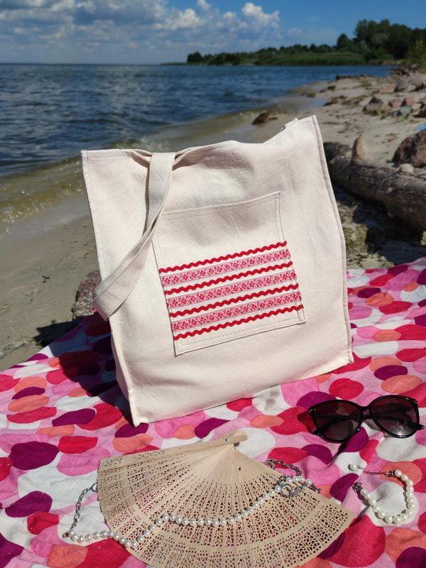 24001 Ніжна сумка для відпочинку  з червоним декором