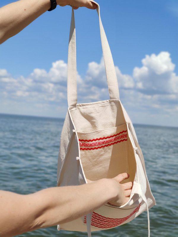 Ніжна сумка для відпочинку  з червоним декором (24001)
